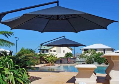 Dual Black Pool Umbrellas