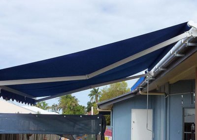 Folding Arm Awning - Royal Blue Acrylic Canvas with White