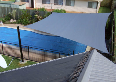 Hypar sail over pool - Z16 Charcoal with Black