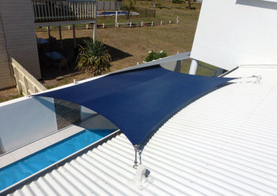Overlapping shade sails over Pool 1 - Z16 Navy Blue & Silver Grey with Surfmist