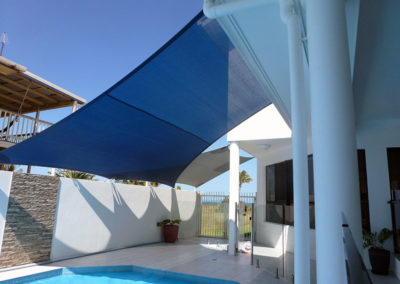 Overlapping shade sails over Pool 2 - Z16 Navy Blue & Silver Grey with Surfmist