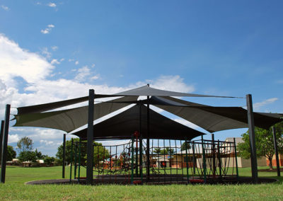 Replacement Shade Sails at St Mary's Catholic School - E32 Black and Silver Grey