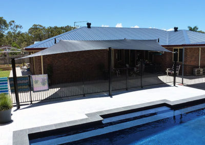Shade sail next to pool area - Z16 Black with Black